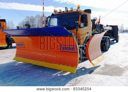 NIZHNY NOVGOROD. RUSSIA. FEBRUARY 17, 2015. The SCHMIDT snowplow
