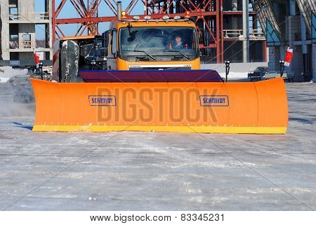 NIZHNY NOVGOROD. RUSSIA. FEBRUARY 17, 2015.  The SCHMIDT snowplow works at the airport territory.