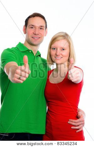 Young Couple With Hands With Thumbs Up