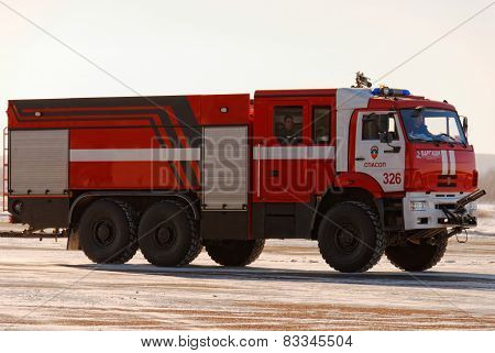 NIZHNY NOVGOROD. RUSSIA. FEBRUARY 17, 2015. Red fire truck