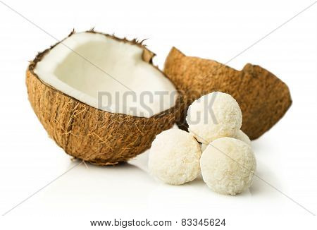 Coconut And Candies In Coconut Flakes