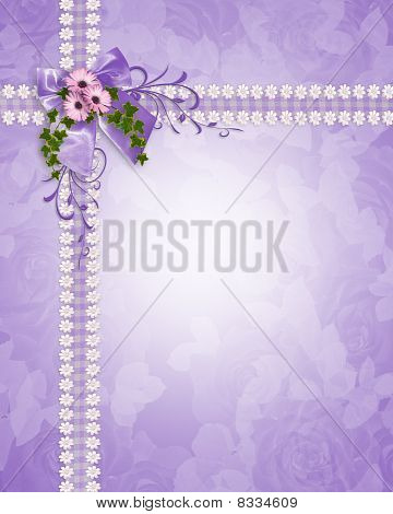 Wedding invitation lavender daisies