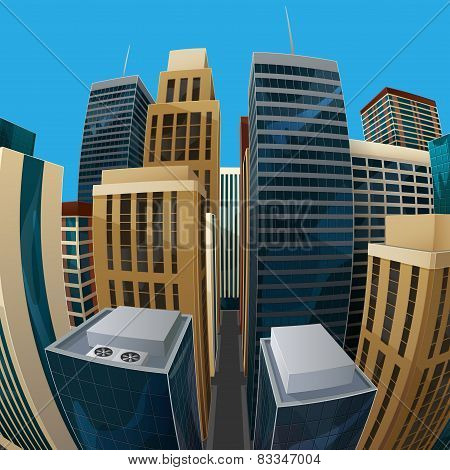 illustration of panoramic fisheye lens cityscape view. city