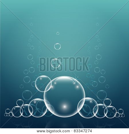 Group Bubbles On Aqua Background Vector