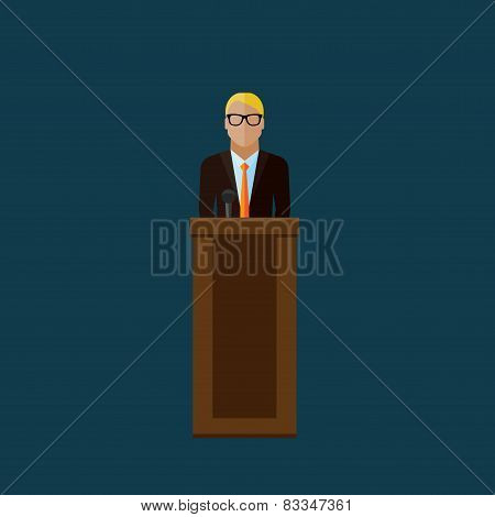 flat  illustration of a speaker. politician. election debates