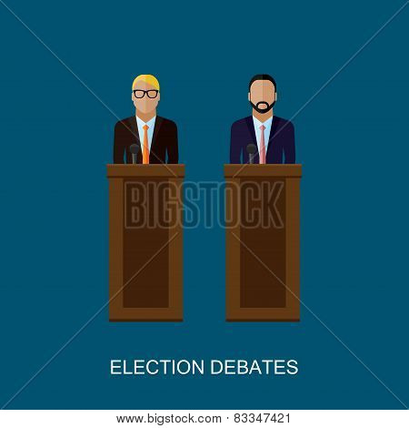 vector flat  illustration of a speakers. politicians. election debates
