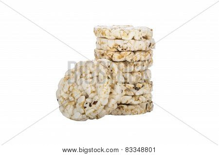 Mini Puffed Rice Cake With Cumin And Salt Isolated