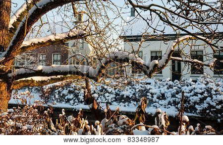 Vista Of Snow-covered Houses In A Dutch Village