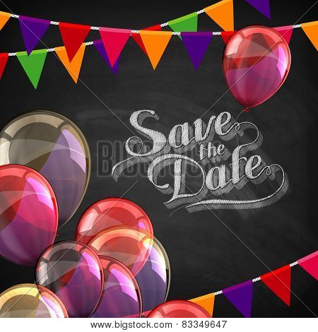 chalk illustration of Save the Date label with balloons and flags