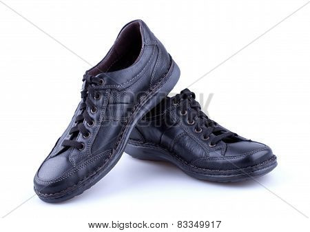 Black Leather Men's Shoes