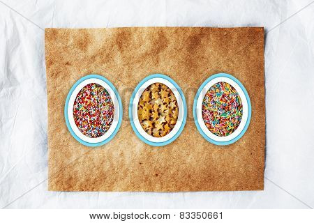 Colorful Easter Background With Different Sweets