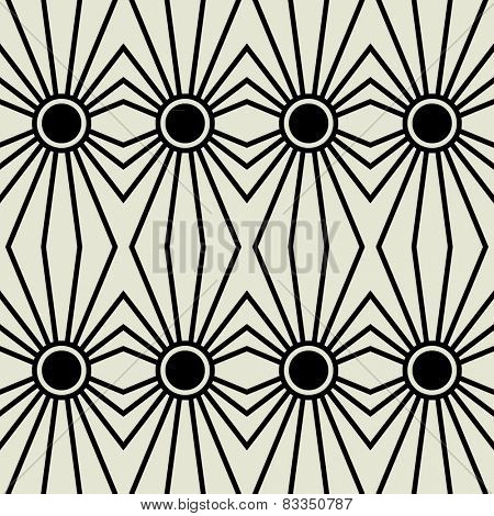art black graphic geometric seamless pattern, square background with symbol of sun ornament in art deco style