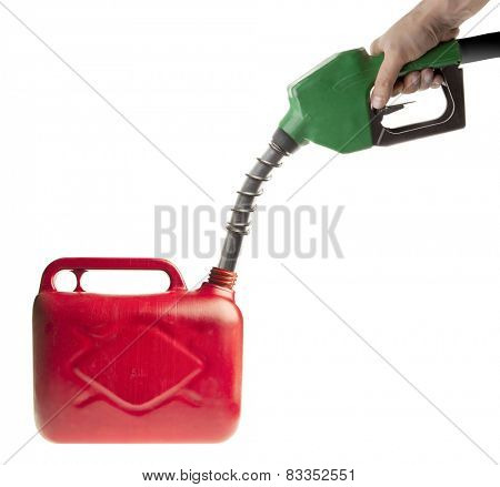 Male hand filling fuel in a red canister on white