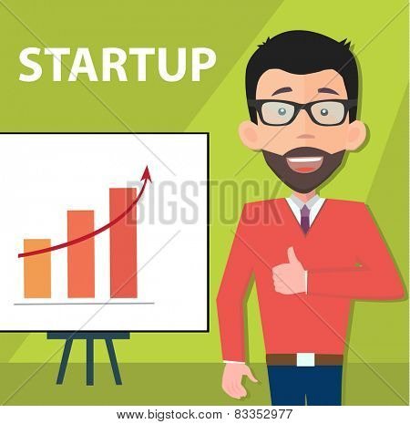 startup entrepreneur presenting information - poster with a place for your text