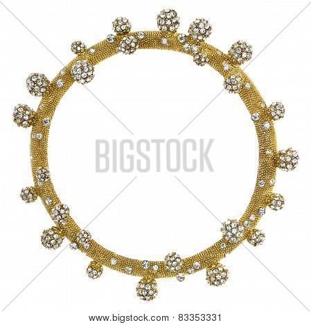 Round Gold Picture Frame with Rhinestone Balls