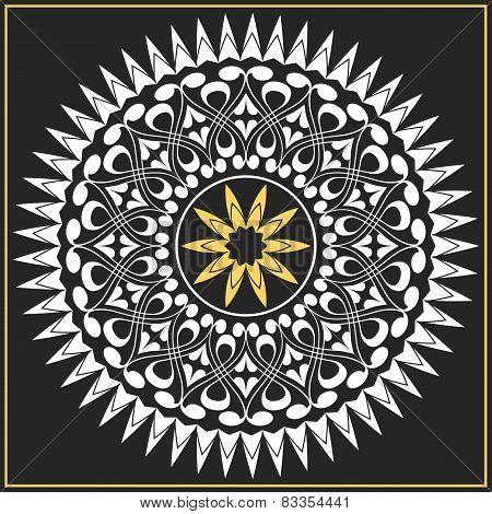 vector white and gold pattern of spirals, swirls, chains