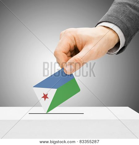 Voting Concept - Male Inserting Flag Into Ballot Box - Djibouti