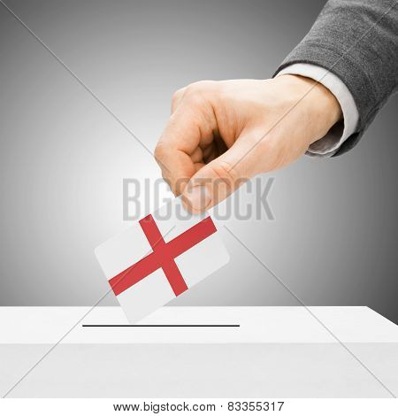 Voting Concept - Male Inserting Flag Into Ballot Box - England