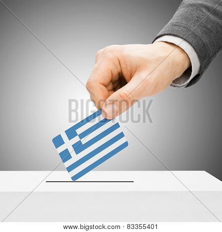 Voting Concept - Male Inserting Flag Into Ballot Box - Greece