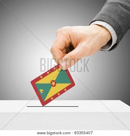 Voting Concept - Male Inserting Flag Into Ballot Box - Grenada