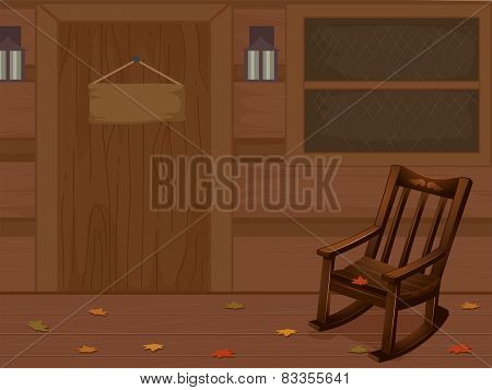 Illustration of a Log Cabin With a Rocking Chair Inside