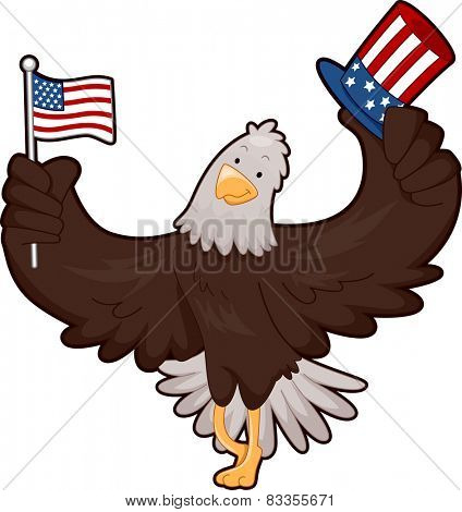Mascot Illustration of a Bald Eagle Holding an American Flag and a Top Hat Designed With Stars and Stripes