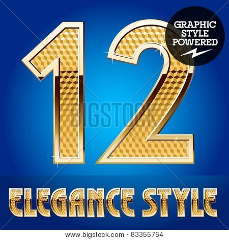 Vector set of rich shining alphabet with golden border. Numbers 1 2