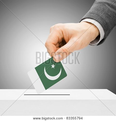 Voting Concept - Male Inserting Flag Into Ballot Box - Pakistan