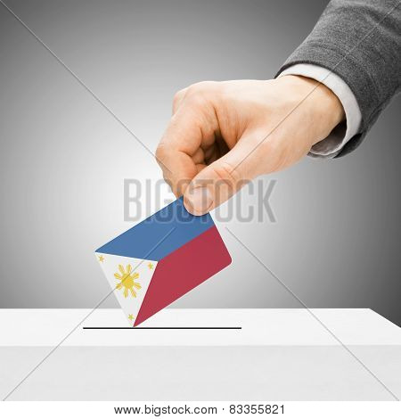 Voting Concept - Male Inserting Flag Into Ballot Box - Philippines