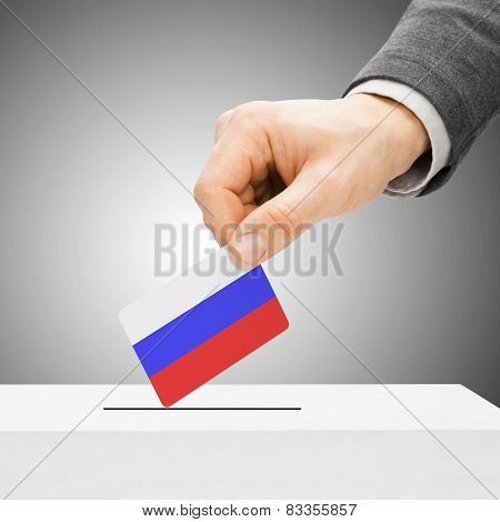 Voting Concept - Male Inserting Flag Into Ballot Box - Russia