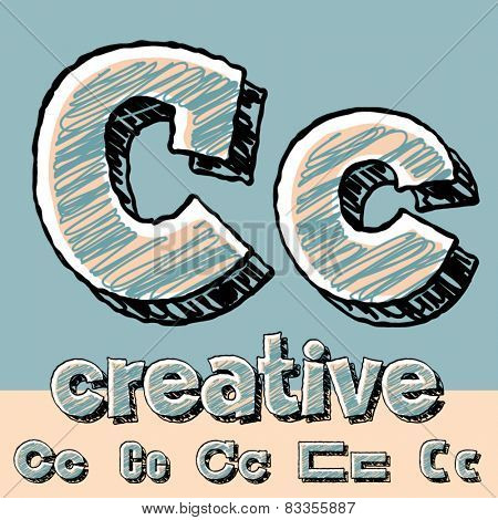 Vector set of funny sketch alphabet. Vector illustration of hand drawing font. Letter C