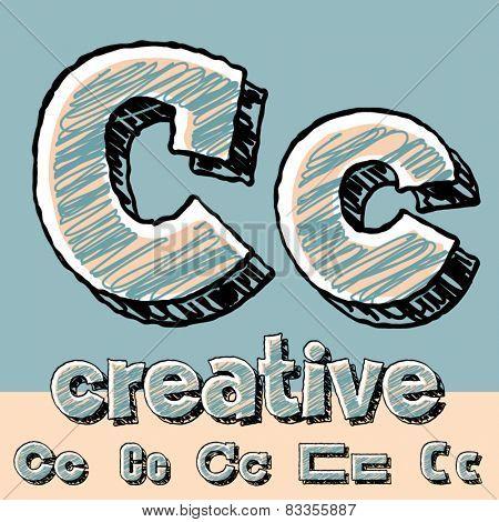 Vector set of funny sketch alphabet. Vector illustration of hand drawing font. Letter C