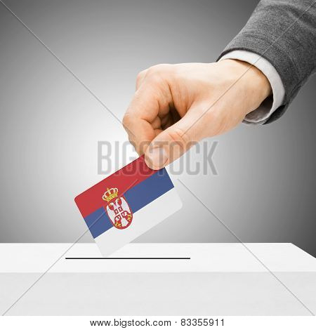 Voting Concept - Male Inserting Flag Into Ballot Box - Serbia