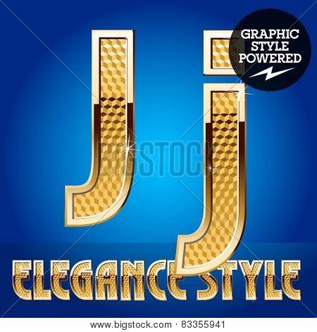 Vector set of rich shining alphabet with golden border. Letter J