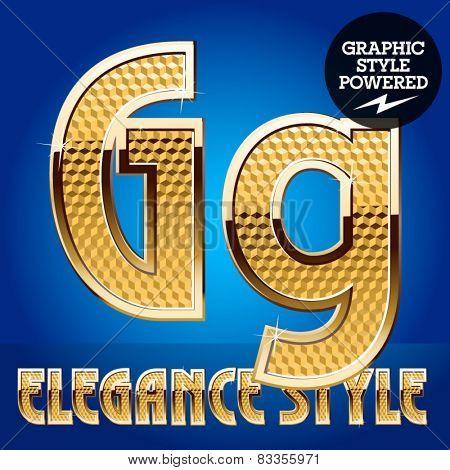 Vector set of rich shining alphabet with golden border. Letter G