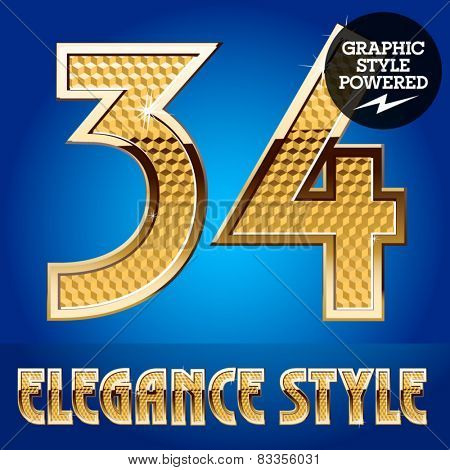 Vector set of rich shining alphabet with golden border. Numbers 3 4