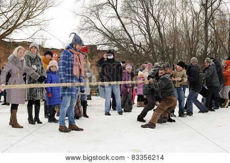 Tug Of War During Winter Maslenitsa Carnival In Russia