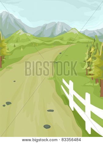 Illustration of a Peaceful Farm Road Surrounded by Greenery