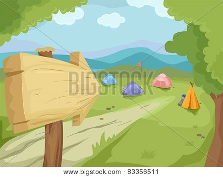 Illustration of a Wooden Sign Pointing to a Camp Filled With Camping Tents