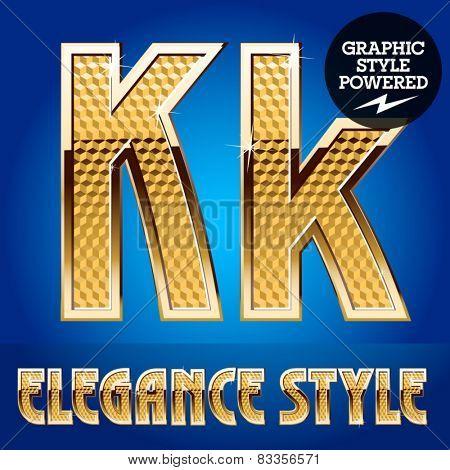 Vector set of rich shining alphabet with golden border. Letter K