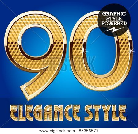 Vector set of rich shining alphabet with golden border. Numbers 9 0