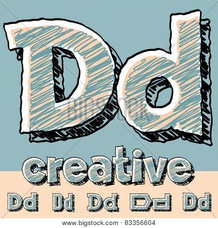 Vector set of funny sketch alphabet. Vector illustration of hand drawing font. Letter D