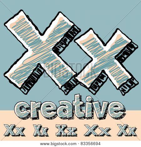 Funny sketch alphabet. Vector illustration of hand drawing font. Letter X