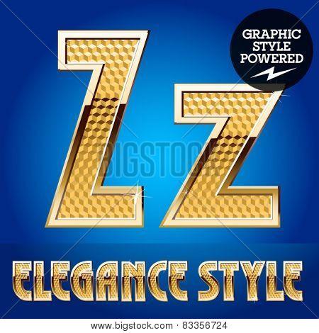 Vector set of rich shining alphabet with golden border. Letter Z