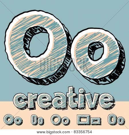 Funny sketch alphabet. Vector illustration of hand drawing font. Letter O
