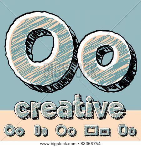 Funny sketch alphabet. Vector illustration of hand drawing font. Letter O