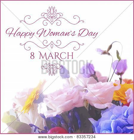 Happy Womens Day. 8 March  on unfocused floral background.