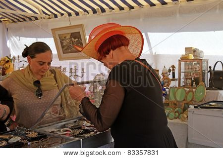 People Shopping At The Famous Of Antique Market  Cours Saleya, Nice, France.