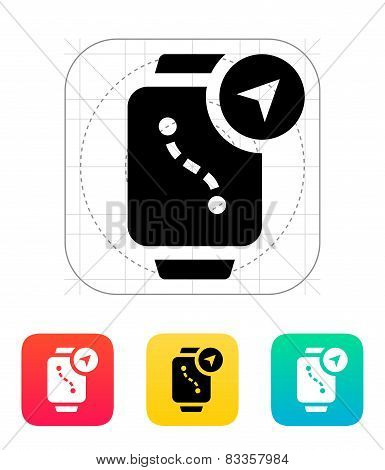 Navigation and GPS in smart watch icon.