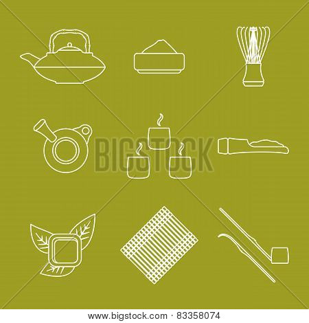 various outline japan tea ceremony equipment icons set